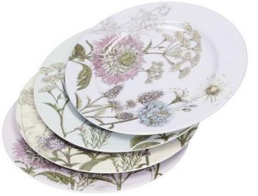 Dekoria Zestaw talerzy deserowych Botanica porcelana 4szt śr 19cm 19x19x1,5cm