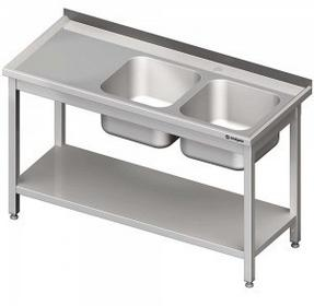 Stalgast Stół ze zlewem dwukomorowym z półką | 613726