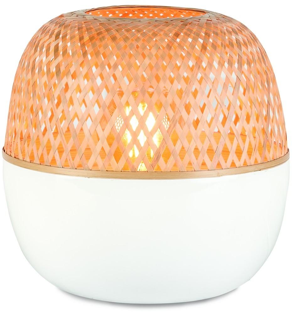 Its About RoMi Lampa stołowa Mekong bambus 25x29cm, biała/naturalny, S MEKONG/T25/W