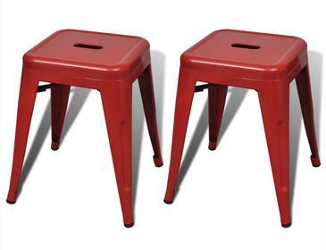 vidaXL Czerwone małe metalowe stołki składane jeden na drugi, 2 szt
