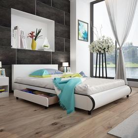 vidaXL Białe łóżko 140 x 200 cm ze sztucznej skóry z 2 szufladami