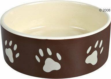 Ceramiczna miseczka z motywem łapek , brązowa - 0,8 l/ O 16 cm