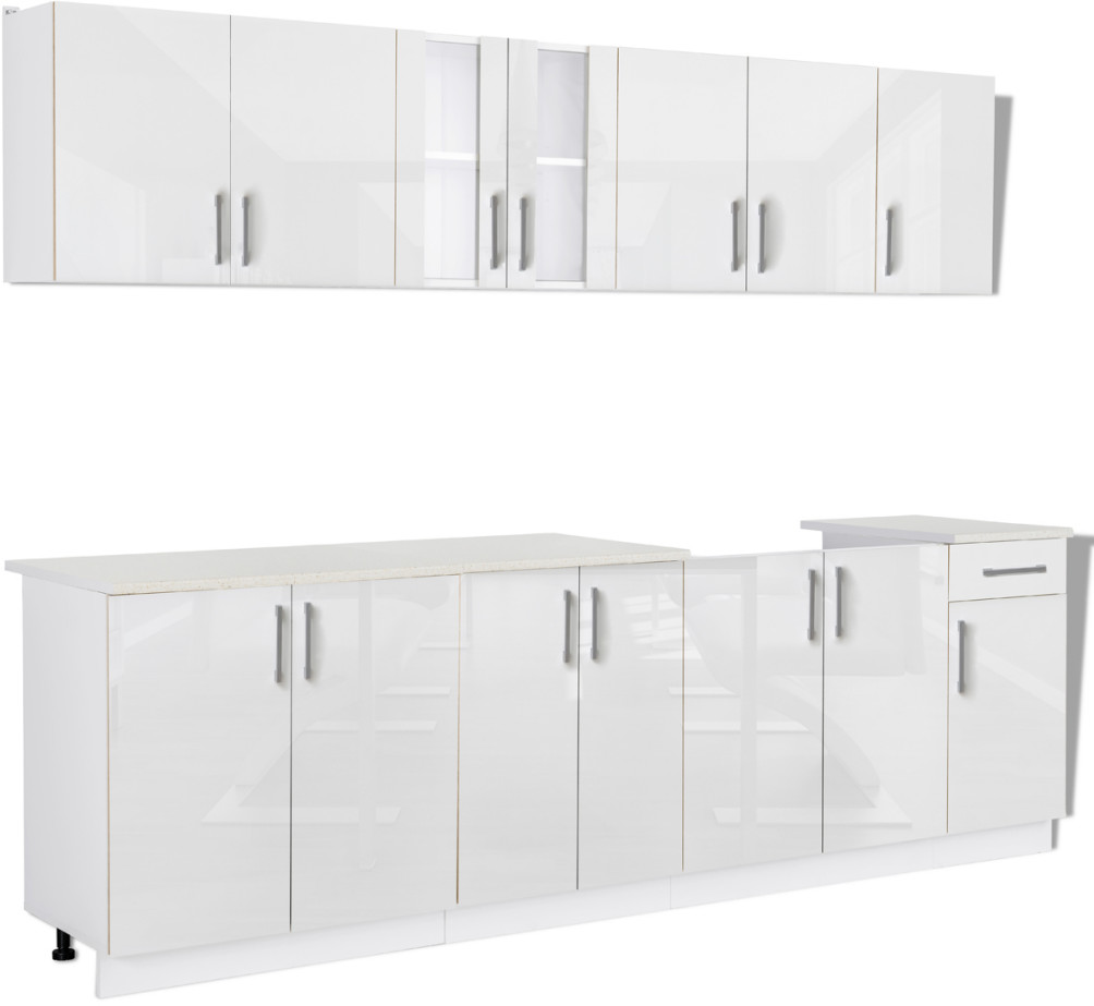 vidaXL Meble kuchenne białe na wysoki połysk 8 elementów (260 cm)