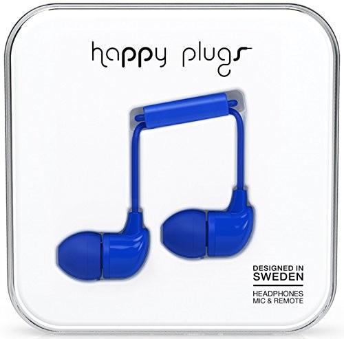 Happy Plugs Deluxe słuchawki dokanałowe z wbudowanym mikrofonem, pilotem i sylikonowymi nakładkami, kompatybilne z Apple iPhone, iPod, iPad oraz tabletami, smartfonami i odtwarzaczami MP3 z systemem A HP7728