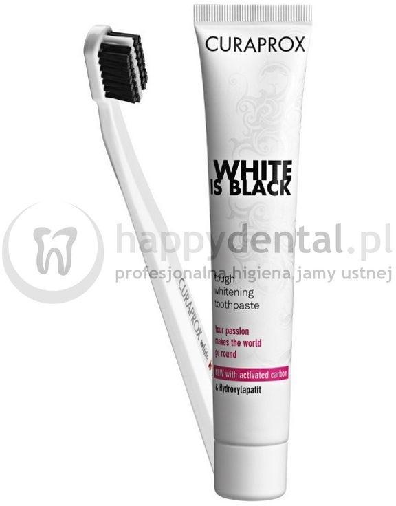 Curaden CURAPROX  WHITE-is-BLACK szczoteczka + pasta 90ml - wybielająca pasta do zębów z aktywnym węglem + szczoteczka CS 5460