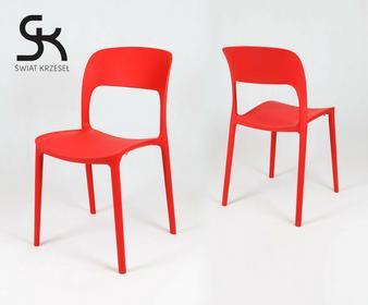 Świat Krzeseł KR022 CZERWONE krzesło polipropylenowe
