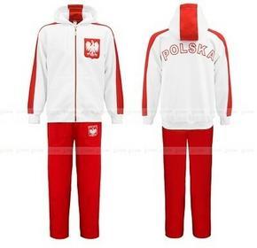 Sportowy dres z bawełny Polska - biała bluza z kapturem - kibic Polski 6F76-835D6_20150319134226