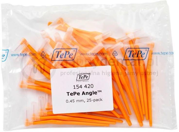 TePe ID Angle (0.45mm) pomara. 25szt. - zestaw szczoteczek międzyzębowych (szczo