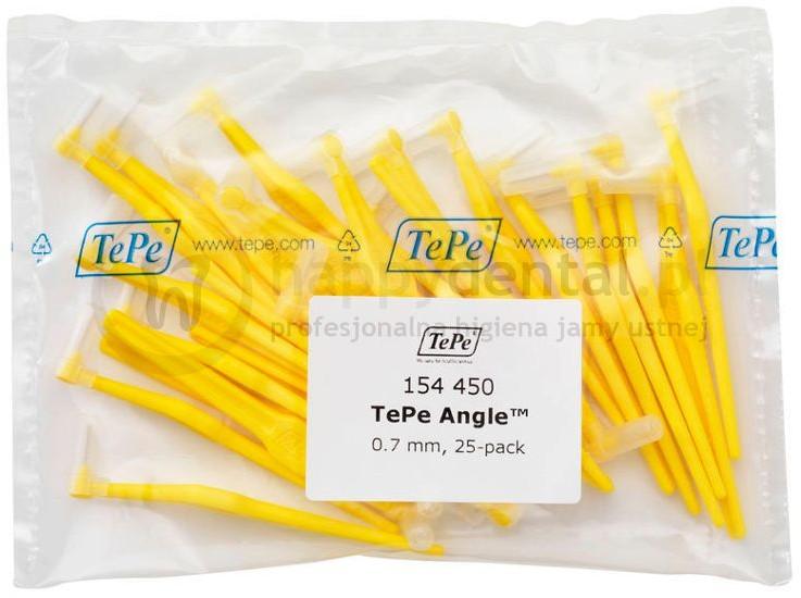 TePe ID Angle (0.7mm) żółte 25szt. - zestaw szczoteczek międzyzębowych (szczotec