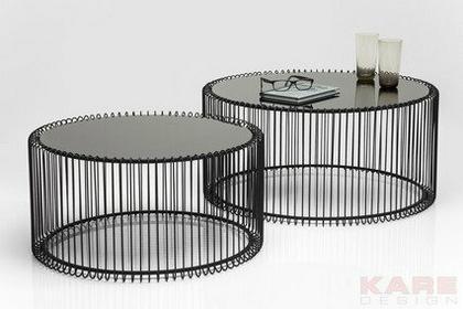 Kare Design Wire Black Stolik kawowy czarny Żelazo szkło 2/Set - 79577
