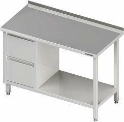 Stalgast TOM-GAST Stół przyścienny z blokiem dwóch szuflad (l),i półką 1900x600x