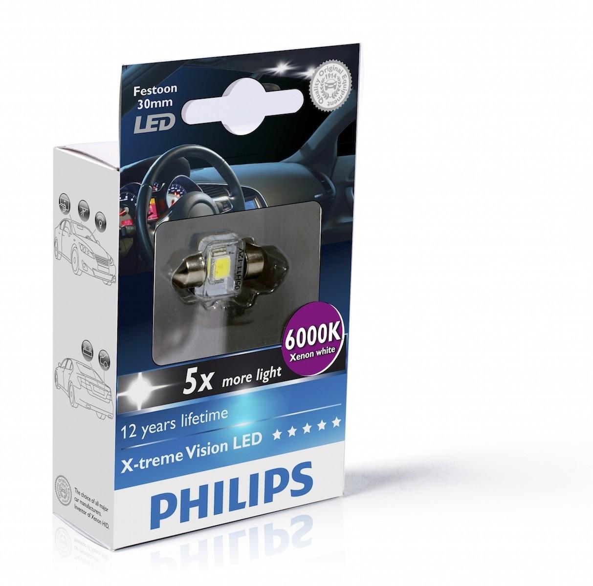 Philips PHILIPS Festoon 12V 1W SV8,5 X-tremeVision LED T14x30 6000K