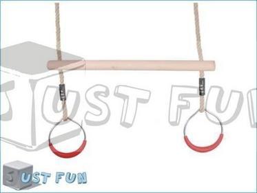 Just Fun Drewniany trapez z okragłymi obręczami