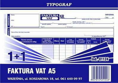 Typograf Faktura VAT (1+1) oryginał + kopia A5