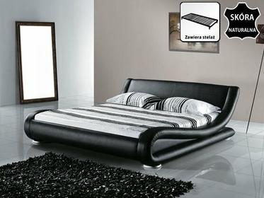 Beliani łóżko skórzane 160x200 cm ze stelazem - AVIGNON czarny