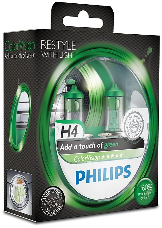 Philips H4 12V 60/55W P43t-38 ColorVision Green