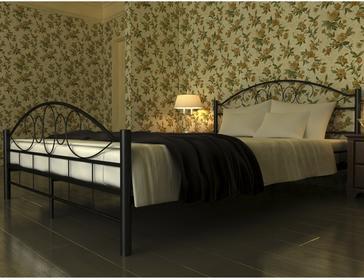 vidaXL Czarne metalowe łóżko 140 x 200 cm