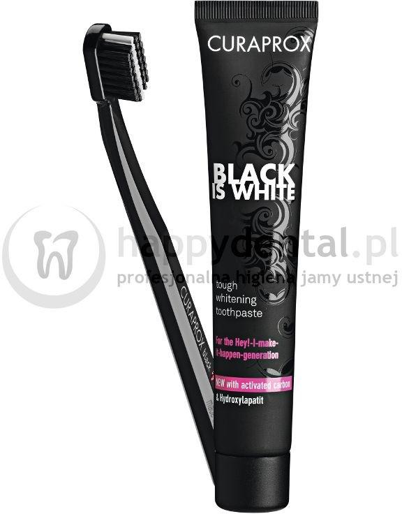 Curaden CURAPROX  BLACK-is-WHITE szczoteczka + pasta 90ml - wybielająca pasta do zębów z aktywnym węglem + szczoteczka CS 5460