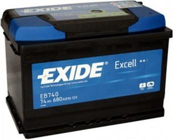 Exide Excell 74Ah 680A EB740 P+