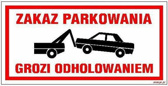 Zakaz parkowania grozi odholowaniem 20x40 cm - wz.197