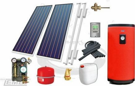 Pakiet solarny - kolektory płaskie 250 + 2P