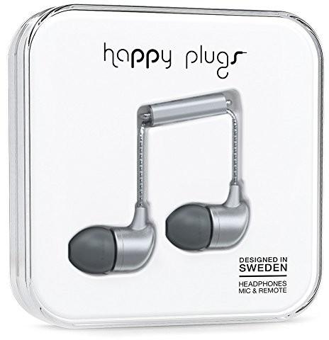 Happy Plugs Deluxe słuchawki dokanałowe z wbudowanym mikrofonem, pilotem i sylikonowymi nakładkami, kompatybilne z Apple iPhone, iPod, iPad oraz tabletami, smartfonami i odtwarzaczami MP3 z systemem A 7834