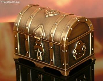 Szkatułka kuferek róże stare złoto