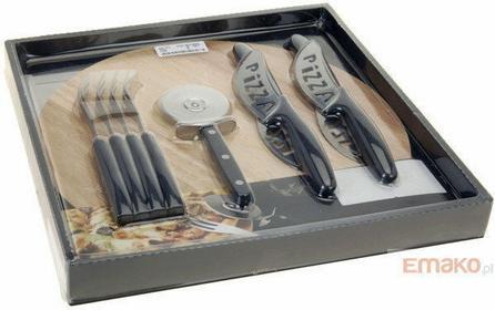 Zestaw do pizzy dla 4 osób: bambusowa deska, nóż i sztućce 3.17-4C4