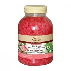 Green Pharmacy Róża piżmowa i zielona herbata 1300g - sól kšpielowa