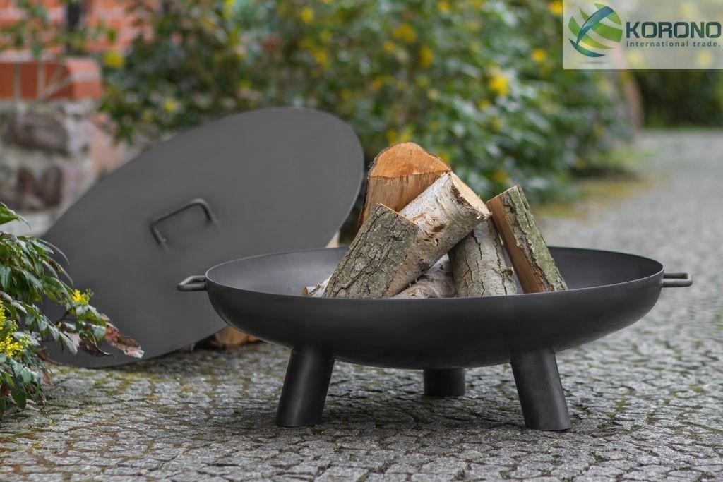 Korono Palenisko ogrodowe ze stali czarnej bez pokrywy średnica 70 cm (KOR302)