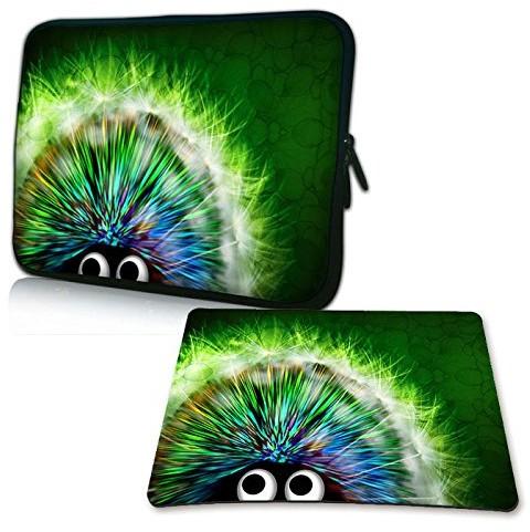 Pedea Design pokrowiec na notebooka z ekranem o przekątnej do 15,6 cala (39,6 cm) z dołączoną podkładką pod mysz Design, motyw Green Hedgehog (zielony jeż) SET019-66060414