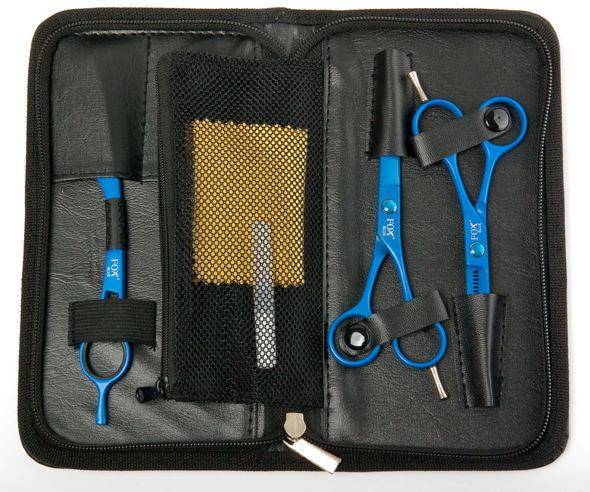 Opinie o Fox Color Blue Zestaw niebieskich nożyczek, degażówek i rezora - Zestaw niebiesk