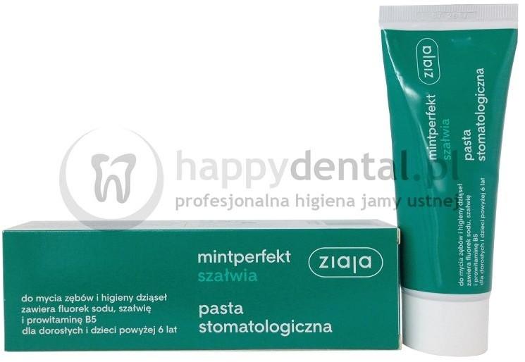 Ziaja MINTPERFECT SZAŁWIA pasta 75ml - pasta do zębów z fluorem, ekstraktem z sz