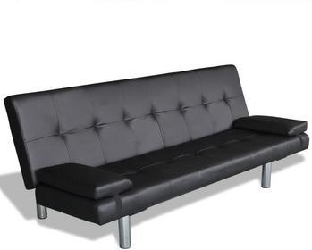 vidaXL Czarna sofa z dwoma poduszkami
