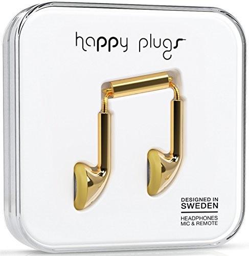 Happy Plugs Deluxe słuchawki douszne z wbudowanym mikrofonem i pilotem, kompatybilne z Apple iPhone, iPod, iPad oraz tabletami, smartfonami i odtwarzaczami MP3 z systemem Android, kolor: złoty 7727