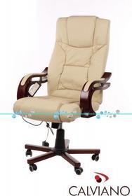 Fotel Prezydent beżowy naturalna skóra z masażem - beżowy