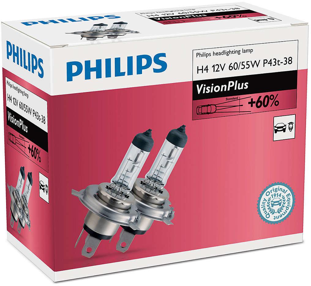 Philips H4 VisionPlus 12V 60/55W P43t-38 - 2 sztuki