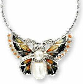 Nicole Barr (UK) Srebrny naszyjnik motyl z emalią, perłami i brylantami, srebro
