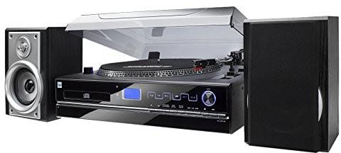 Dual NR wieża z gramofonem (odtwarzanie płyt CD, MP3, wejście 3,5 mm), kolor czarny 4260136673561