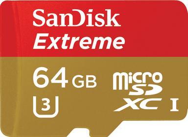 SanDisk Extreme microSDXC 64 GB 90/60 MB/s Class 10 U3 V30