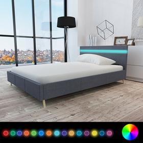vidaXL Rama łóżka z materiałowym CIEMNO SZARYM obiciem + pas LED 200 x 140 cm