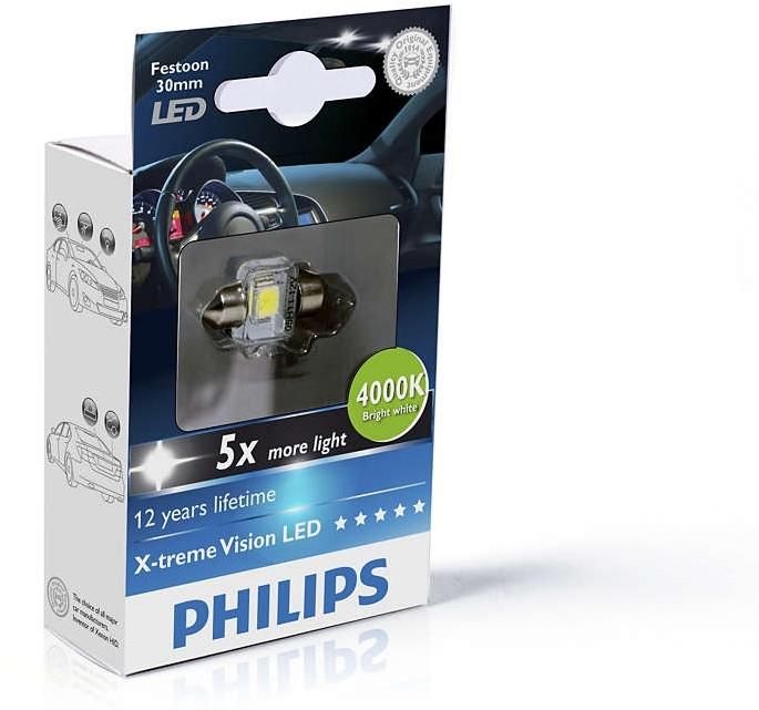Philips PHILIPS Festoon 12V 1W SV8,5 X-tremeVision LED T14x30 4000K