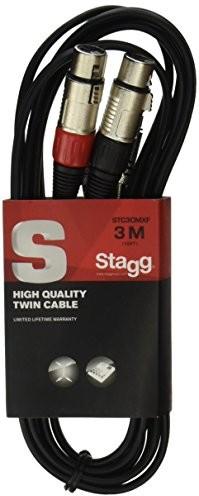 Stagg STC3CMXF S kabel audio, 2 złącza męskie chinch, 2 złącza damskie XLR, 3 m STC3CMXF