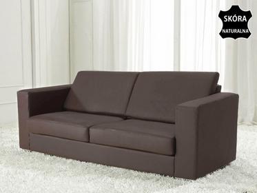 Beliani Skórzana sofa trzyosobowa brazowa - kanapa - HELSINKI c