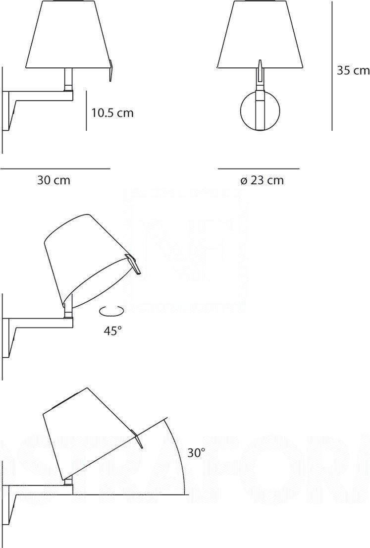 Artemide MELAMPO PARETE lampa ścienna Brązowy+naturalny 0720020A