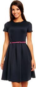 karteS Sukienka z paskiem KM146 czarny, 42 (XL)