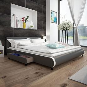 vidaXL Szare łóżko 180 x 200 cm ze sztucznej skóry z 2 szufladami