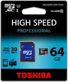 Toshiba Micro SDHC Class 10 (+ adapter) 64GB