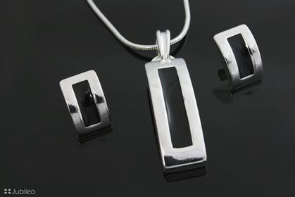 Jubileo KOMPLET PROSTOKĄT CZARNY kolor srebro (rr103)