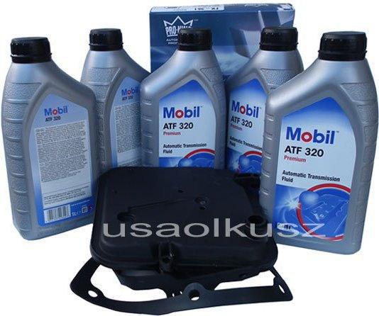 Mobil Półsyntetyczny olej ATF320 oraz filtr oleju skrzyni biegów 4-spd Dodge Mag